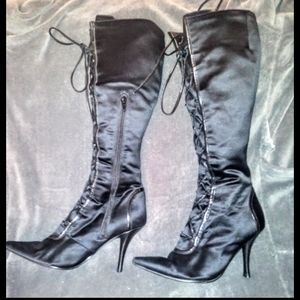 Nine west under the knee lace up black boots
